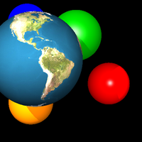 Earth textured sphere rendered using ray tracing.